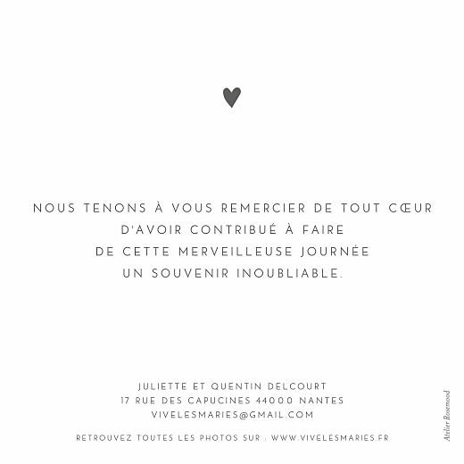 Carte de remerciement mariage Élégant cœur blanc