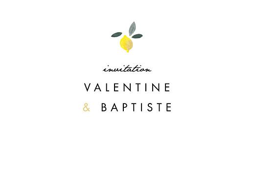 Carton d'invitation mariage Palermo blanc & jaune