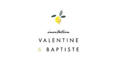 Carton d'invitation mariage Palermo blanc & jaune finition
