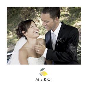 Carte de remerciement mariage Palermo blanc