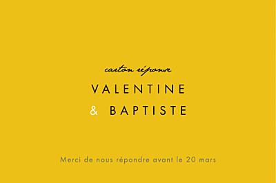 Carton réponse mariage Palermo blanc & jaune finition