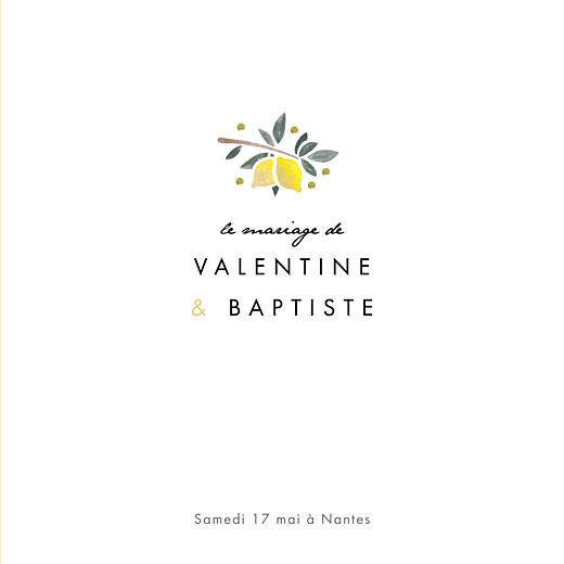 Faire-part de mariage Palermo 4 pages blanc & jaune