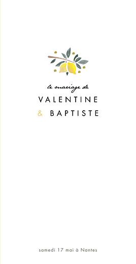 Menu de mariage Palermo blanc & jaune