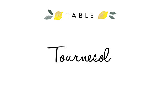 Marque-table mariage Palermo blanc & jaune