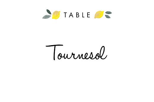 Marque-table mariage Palermo blanc & jaune