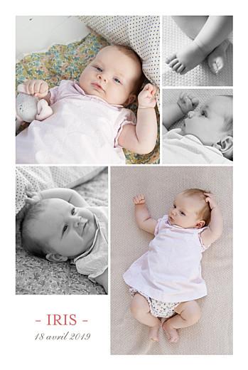 Faire-part de naissance Moderne 5 photos blanc