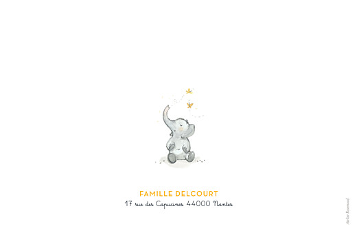 Faire-part de naissance 3 éléphants en famille jaune - Page 4