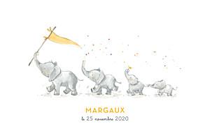 Faire-part de naissance fille 4 éléphants en famille jaune