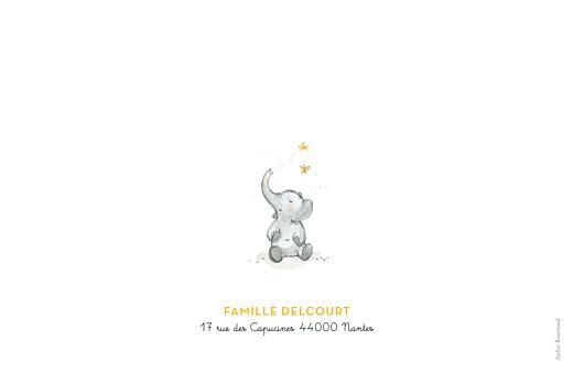 Faire-part de naissance 4 éléphants en famille jaune - Page 4