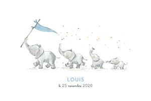 Faire-part de naissance blanc 4 éléphants en famille bleu