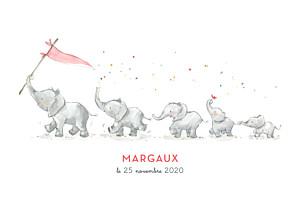 Faire-part de naissance rose 5 éléphants en famille rose