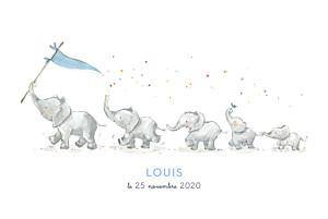 Faire-part de naissance avec photo 5 éléphants en famille bleu