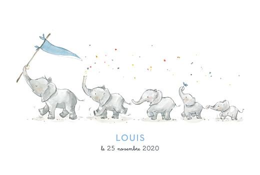 Faire-part de naissance 5 éléphants en famille bleu