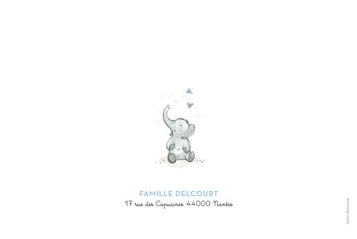 Faire-part de naissance 5 éléphants en famille bleu - Page 4