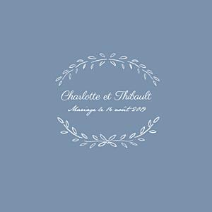 Faire-part de mariage bleu poème (4 pages) bleu