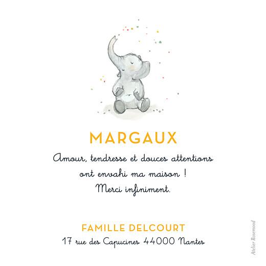 Carte de remerciement Merci éléphants en famille jaune - Page 2