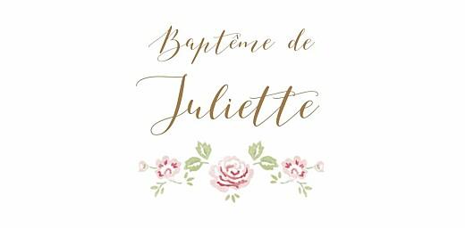Marque-place Baptême Couronne de roses blanc