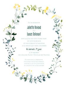 Faire-part de mariage jaune bouquet sauvage (portrait) jaune