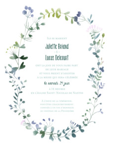 Faire-part de mariage Bouquet sauvage (portrait) rose