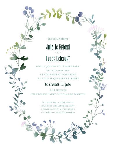 Faire-part de mariage Bouquet sauvage (portrait) rose finition