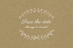 Save the date marron poème kraft