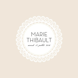 Faire-part de mariage gourmandise boudoir dentelle beige blanc
