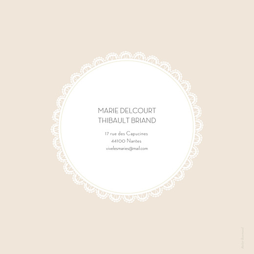 Faire-part de mariage Boudoir dentelle beige blanc