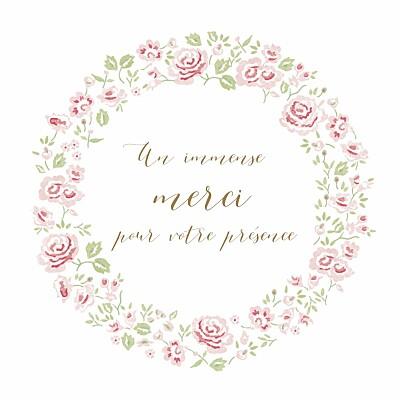 Carte de remerciement Petite couronne de roses blanc finition