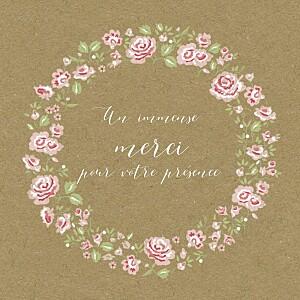 Carte de remerciement marron petite couronne de roses kraft