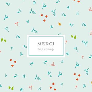 Carte de remerciement motifs petite cueillette du jardin bleu