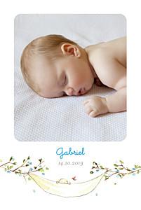 Faire-part de naissance bleu sur la branche portrait bleu