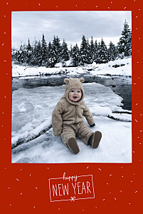 Carte de voeux rouge paillettes d'hiver rouge