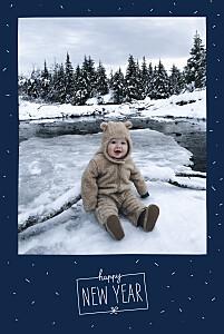 Carte de voeux Paillettes d'hiver bleu marine