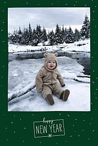 Carte de voeux blanc paillettes d'hiver vert sapin