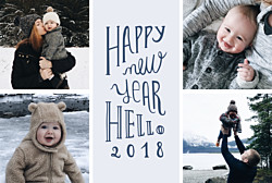 Carte de voeux Welcome new year bleu gris