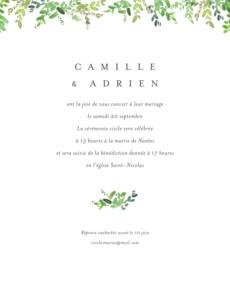 Faire-part de mariage Canopée (portrait) vert