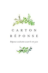 Carton réponse mariage blanc canopée vert