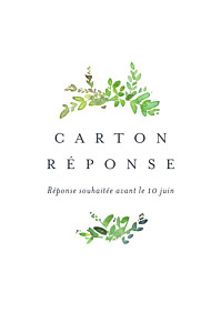 Carton réponse mariage vert canopée vert