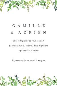 Carton d'invitation mariage blanc canopée vert