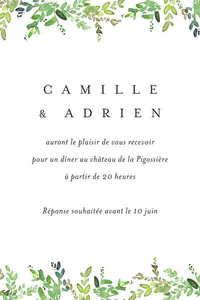 Carton d'invitation mariage Canopée vert finition