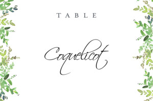 Marque-table mariage Canopée vert