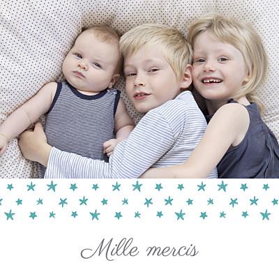 Carte de remerciement Petit ruban étoilé photo blanc turquoise finition