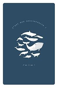 Carte d'anniversaire fille baleine extraordinaire bleu
