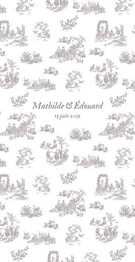 Menu de mariage Toile de jouy (4 pages) taupe