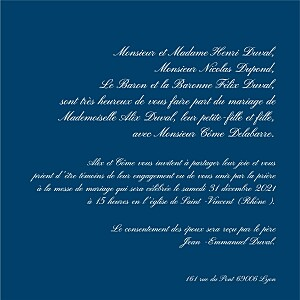 Faire-part de mariage kraft traditionnel bleu foncé