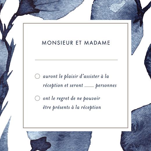 Carton réponse mariage Ombres florales bleu