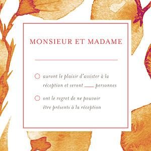 Carton réponse mariage orange ombres florales orange