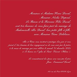 Faire-part de mariage rouge traditionnel rouge