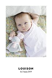 Faire-part de naissance Étoiles chic (dorure) blanc