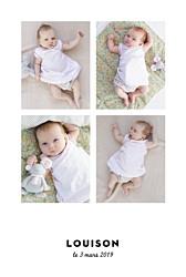 Faire-part de naissance Étoiles chic 4 photos (dorure) blanc